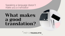 Banner with the text What makes a good translation?